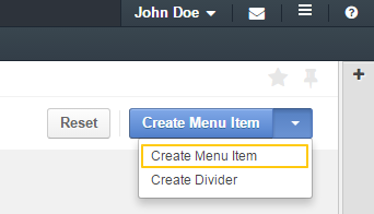 Create menu item button