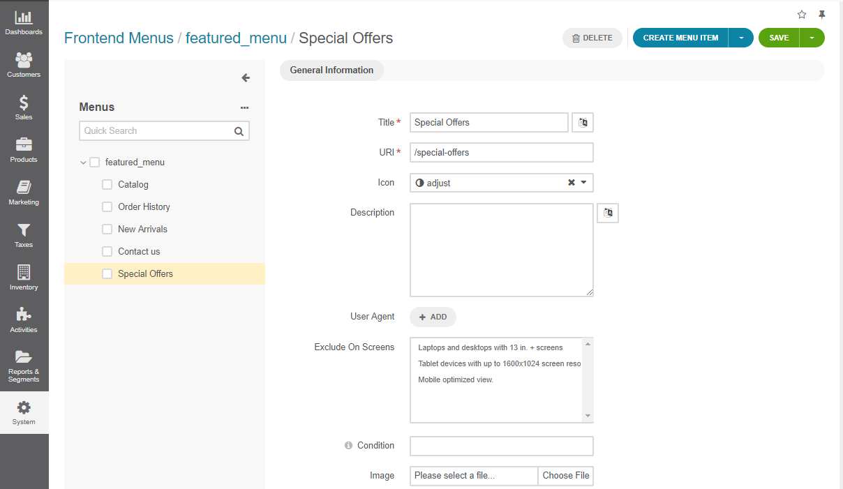 A new frontend menu item added to the featured menu in the management console