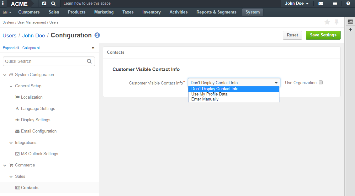 Selecting customer visible contact info in the contacts menu on the user configuration level