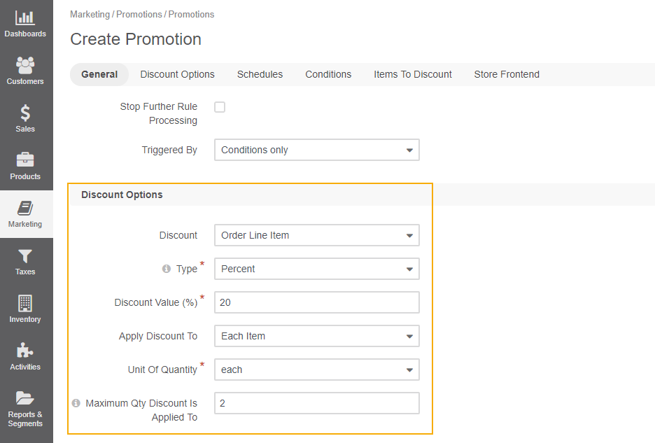 Sample discount options for order subtotal calculation