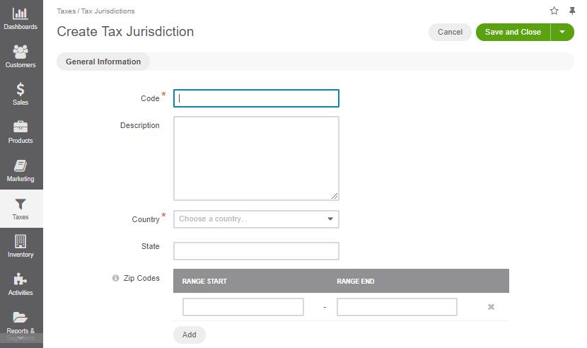Create a new tax jurisdiction