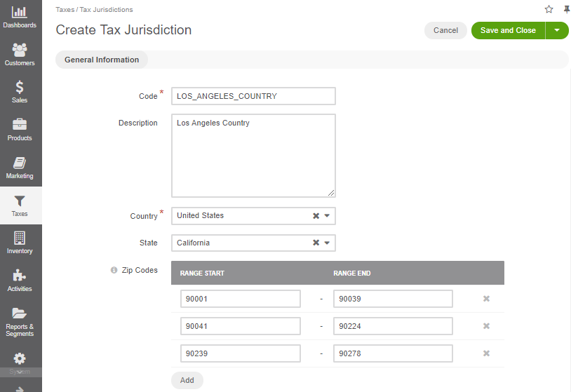 Fill the data for a new tax jurisdiction