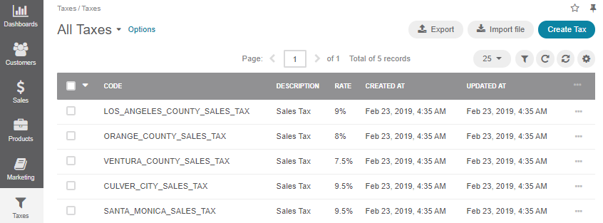 The page of all available tax rates