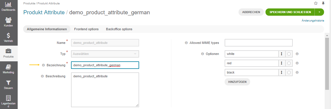 The product attribute label translated once the application language on use level is updated