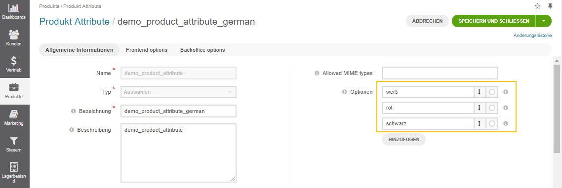 Translating the attribute options to German