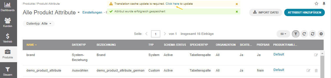 Click on the link to update cache once the label is translated