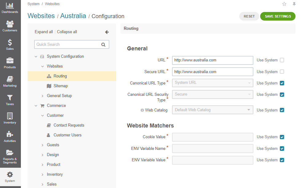 The configuration page of Australia website