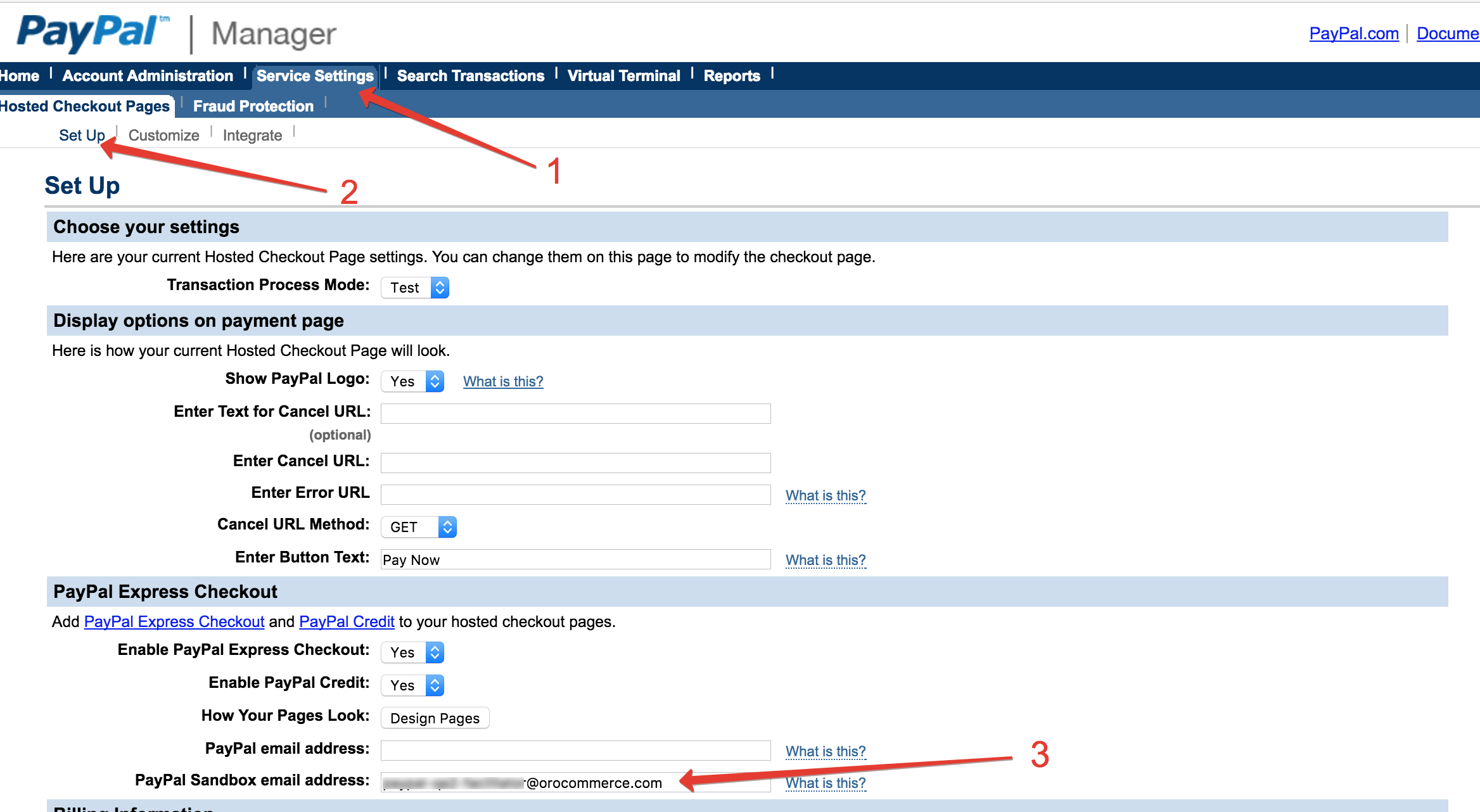 how to set up paypal page style
