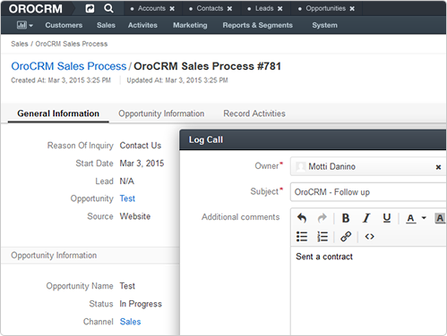 OroCRM Features - Intuitive Sales Tools - Pipeline management across channels; See everything about the customer in one view with logical task management