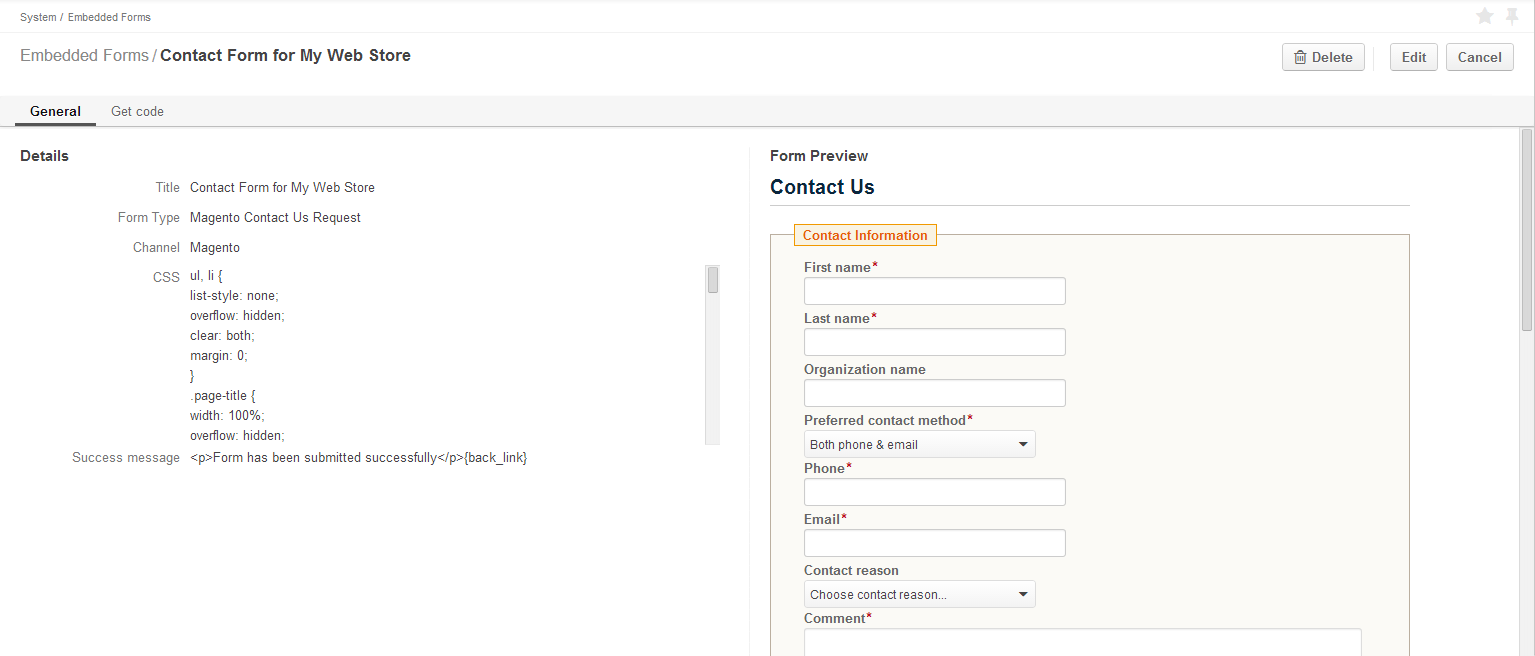 OroCRm Embedded Forms Preview - open source crm