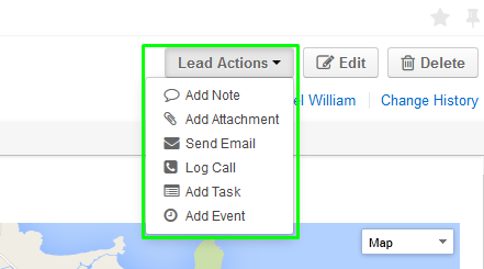Figure 2. Entity Actions dropdown button with a long list of activities/actions.