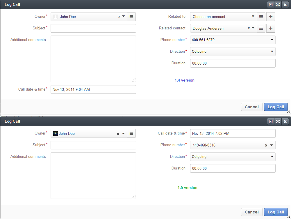 Figure 4. Log call dialogue in versions 1.4 (above) and 1.5 (below).