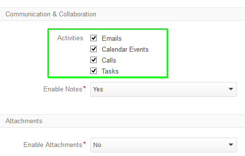 Figure 7. Checkboxes enable or disable activities for the particular entity.
