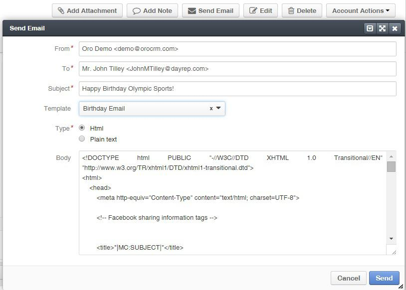 Sending an e-mail in OroCRM