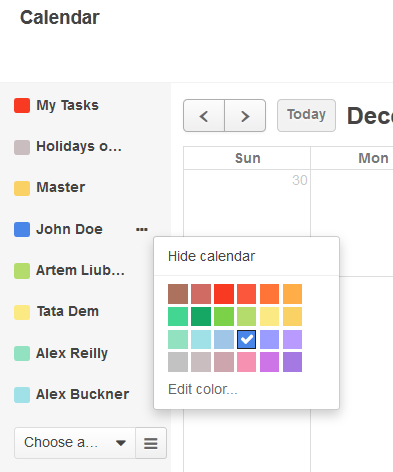 Figure 5. Manage the display color of the calendar.