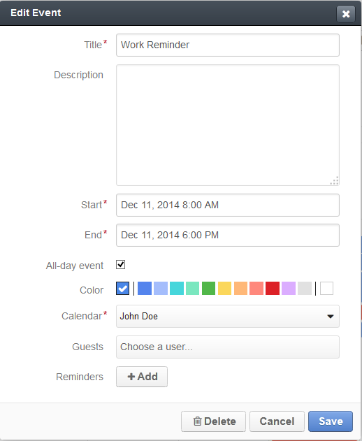 Figure 6. Manage the display color of an individual event.