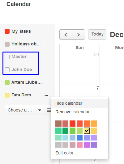 Figure 7. The context menu allows to hide calendar from the view. Note two already hidden calendars above.