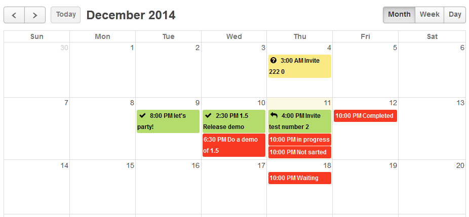 Figure 2. Events with various responses on the Calendar view.