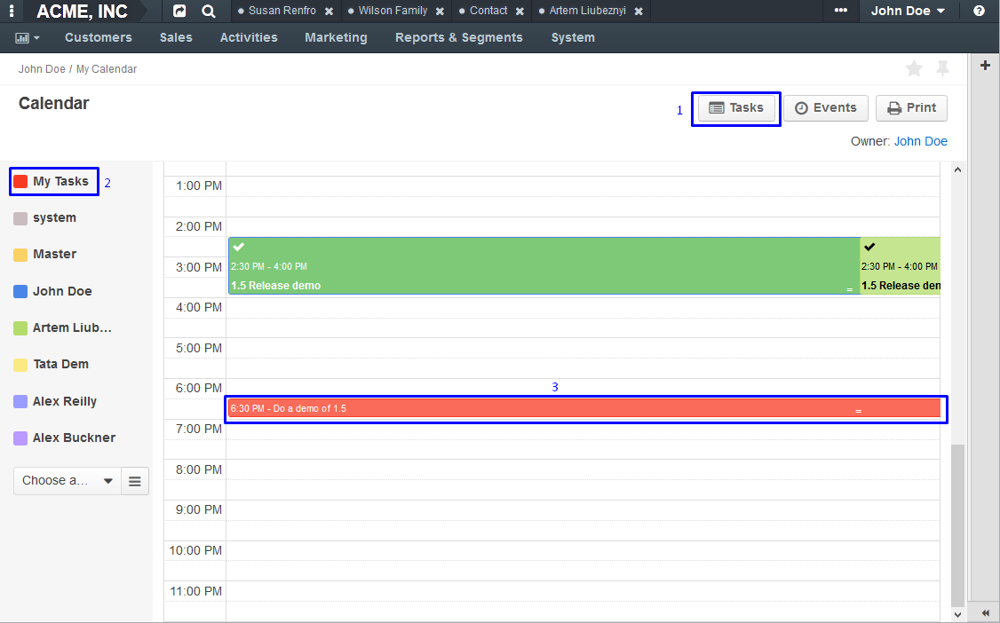 Figure 3. Tasks button (1), My Tasks calendar (2), and the task displayed in the calendar (3).