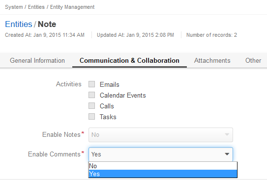 Figure 2. Enable or disable comments for Note activity in Entity Management.