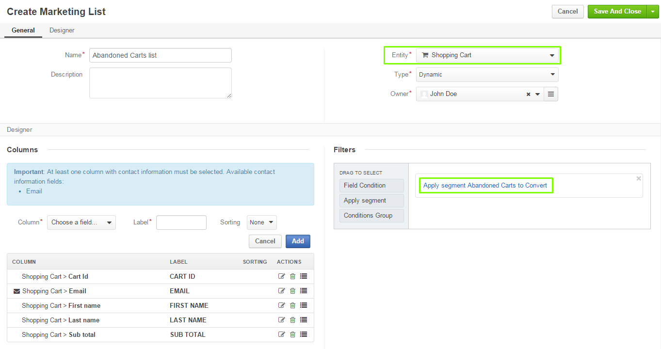 Figure 3. Creating a marketing list. Note that it is built on the Shopping Cart entity and re-uses the existing segment.