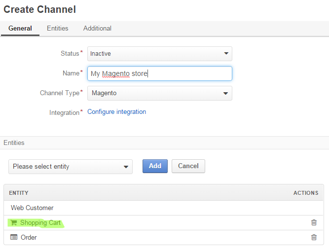 Figure 1. Make sure you have Shopping Carts in the list of channel entities when you integrate with Magento.
