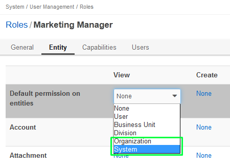 Figure 4. In order to be able to access records in the Global view, the user must get System permissions for his role.