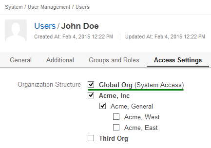 Figure 3. Assigning the user to the organization that has system access is the first step necessary to provide him with the global data access.