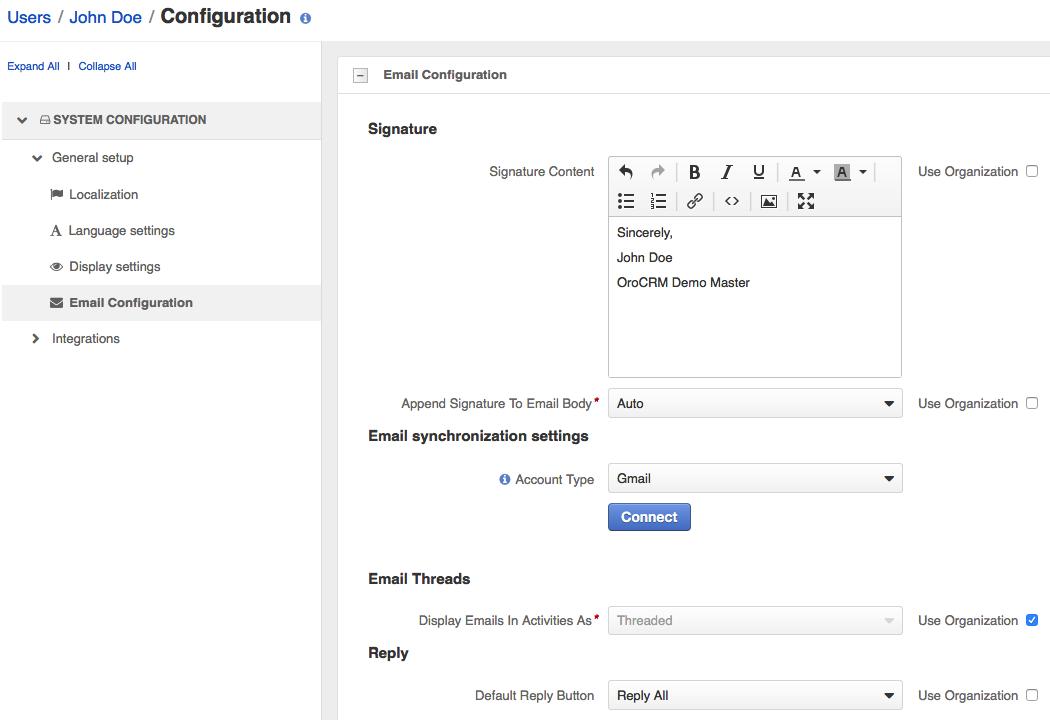 personal app configuration