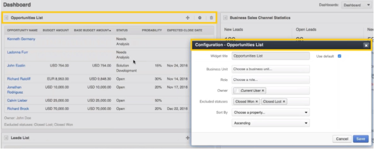 opportunities widget in OroCRM