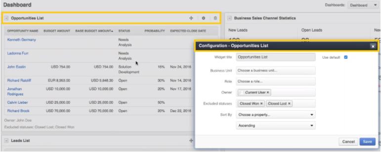 opportunities widget in OroCRM