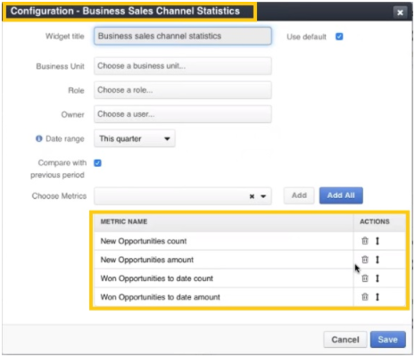 configuration of Business Sales Channel Statistics widget
