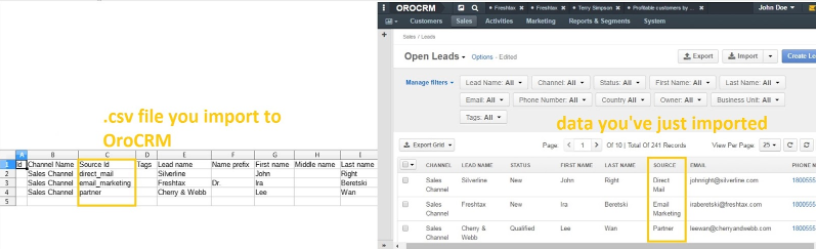 uploading leads to orocrm via csv