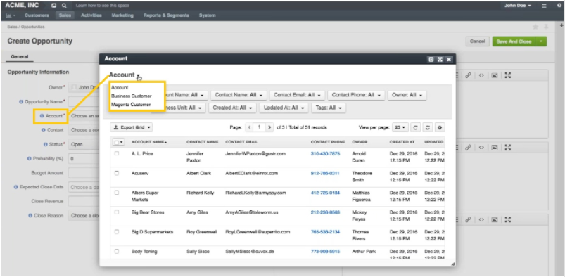 relate opportunities directly to the accounts representing your customers in the CRM