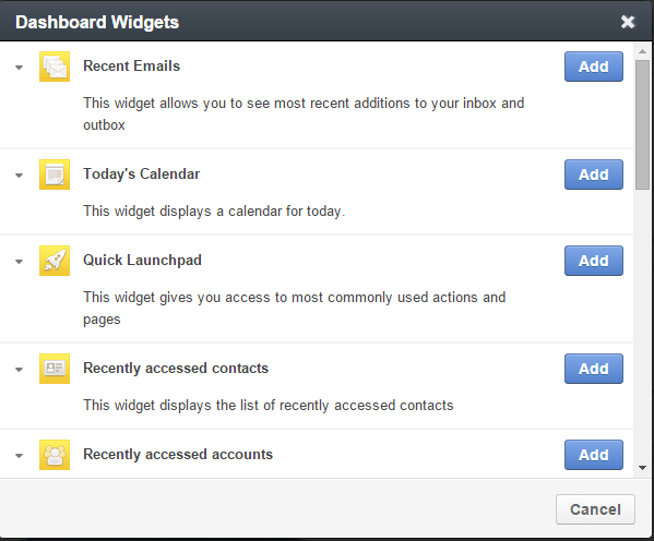 WidgetList