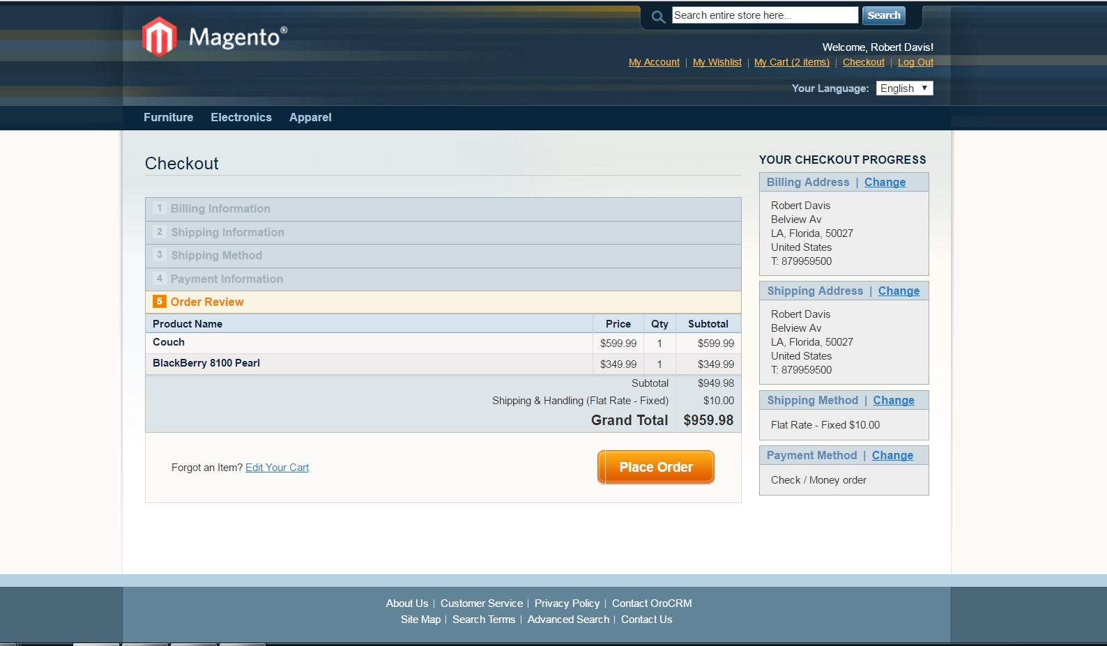 A Magento checkout page that a subscriber gets to when clicking the link in the email