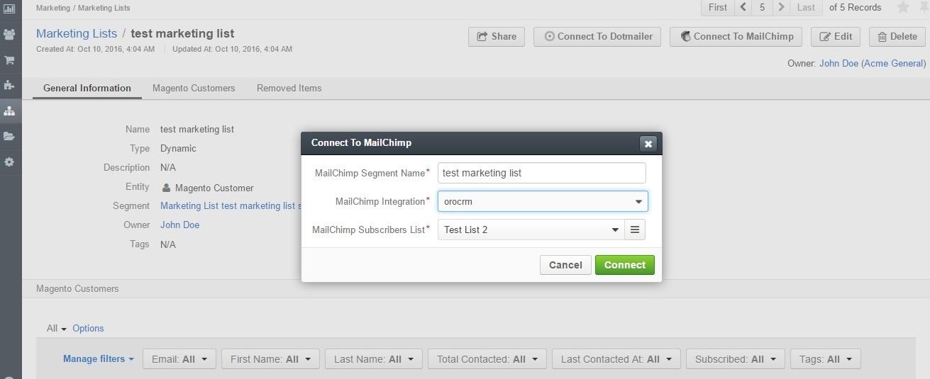 Sending Email Campaign Via Mailchimp Orocrm Open Source Crm