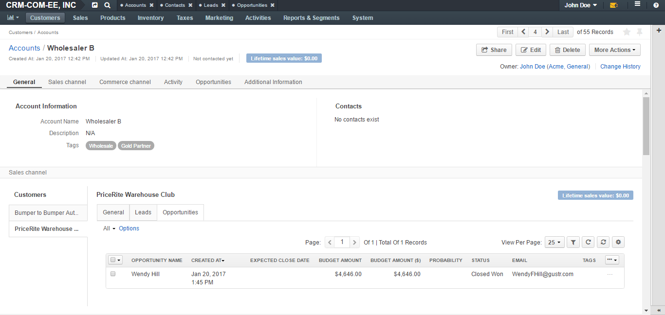 An example of an Account for Commerce customer