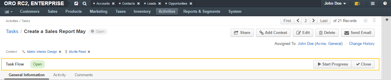 The transitions on the page of a task when the task flow is activated