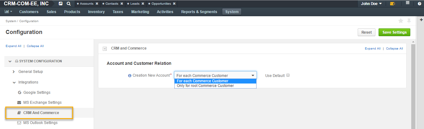 System configuration settings for CRM and Commerce