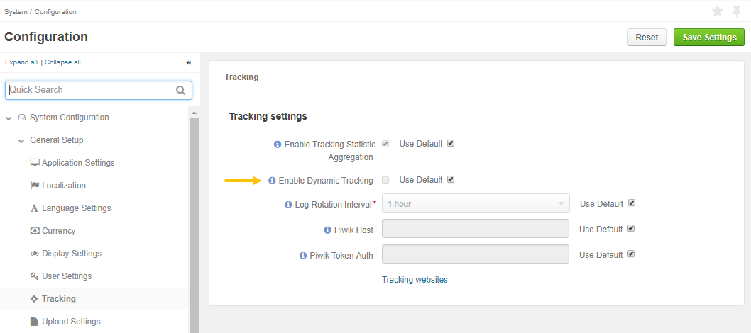 Enable dynamic tracking in system configuration