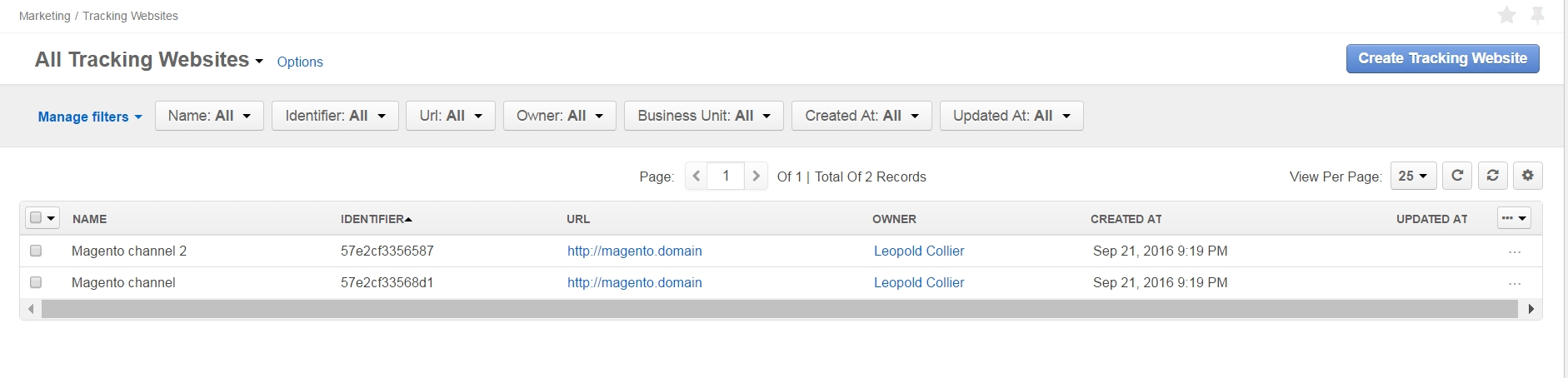 A list of previously created Magento channel records