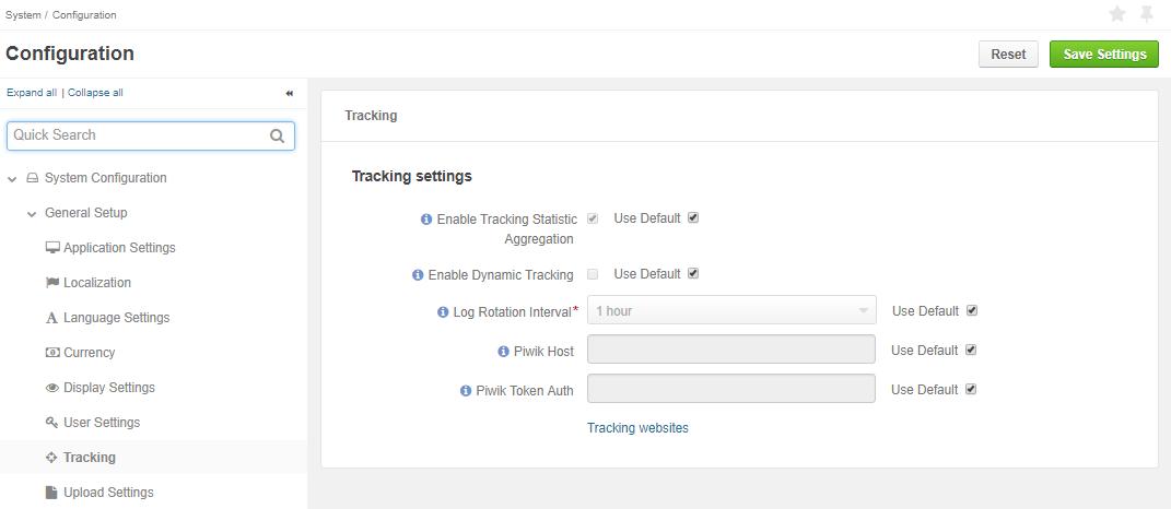 Tracking configuration