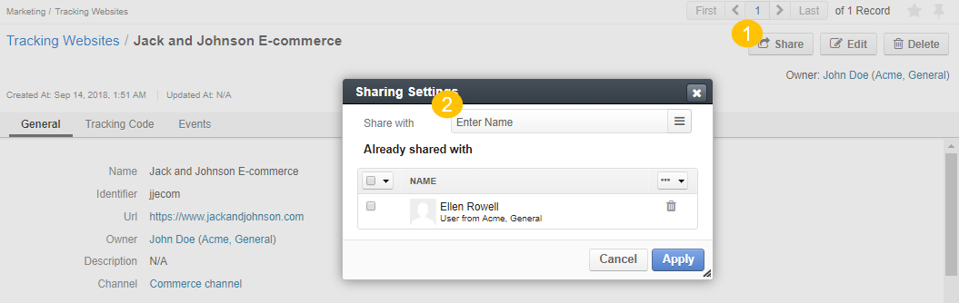 The popup of sharing settings