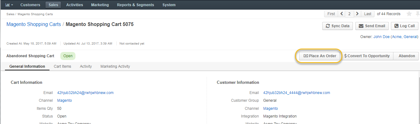 Magento Shopping Carts and Orders - OroCRM - Open-Source CRM