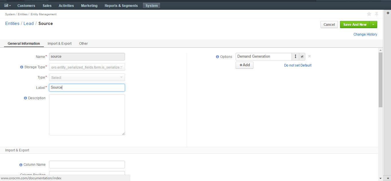 Creating a source entity from the entity management menu
