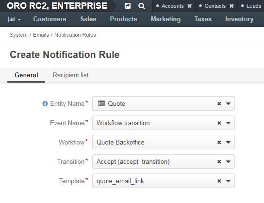 A notification rule creation form with workflow transition selected for the event name