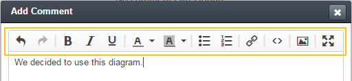 A formatting tool bar that enables editing a text for emails, notes, and comments