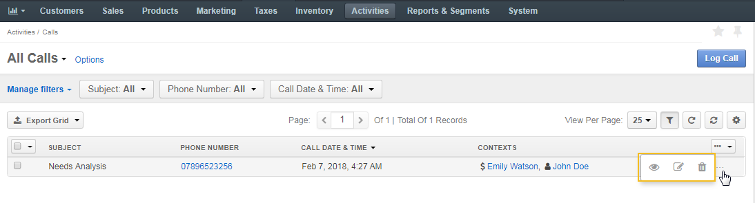 The actions you can perform to calls on the page of all calls, such as view, edit and delete