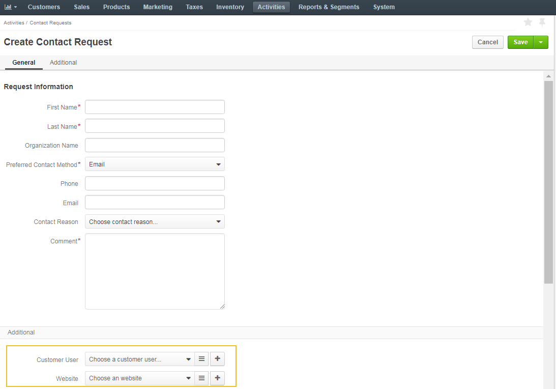 The form for creating the new contact request